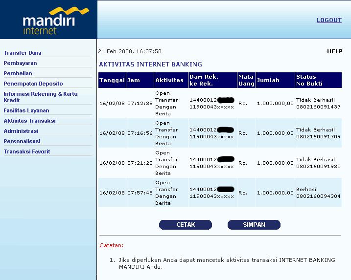 #!/Dudi/Gurnadi » Transfer E-Banking Mandiri Bermasalah